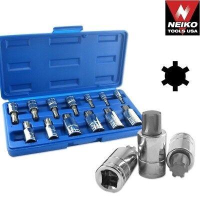 13 Pcs Ribe Bit Socket Set Torx Ribe Bit Mechanics Handy Tool Star Bit Kit