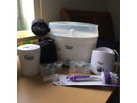 Tommee Tippee steriliser botttle warmer set with extras.