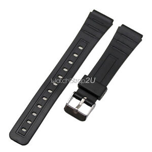 Silicone-Rubber-Pin-Buckle-Wrist-Watch-Band-Strap-Black-12-mm-16-mm-18mm