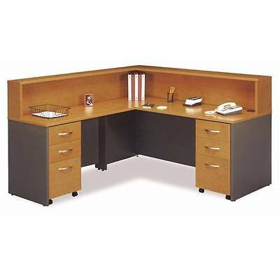 Executive L-shaped Reception Desk Package Natural Cherry Finish