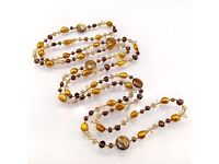 Freshwater pearl long necklace with gemstone chip