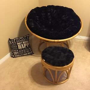 Pier One Papasan Chair with Foot Stool and 'New' Cushions
