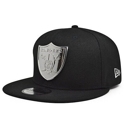Oakland Raiders Metal Badge Snapback 9Fifty New Era Nfl Hat  Black Silver