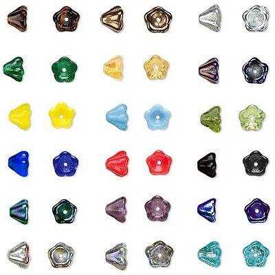20 Bell Shaped 8mm x 6mm Fluted Flower Top Czech Glass Beads with Center -