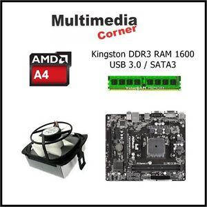 PC Aufrüstkit AMD A4 6300, 2x3,7 GHz, Asrock A68M DG3+, 4 GB DDR3 RAM, FM2+ USB3