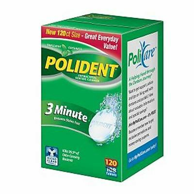 Polident 3 Minute, Antibacterial Denture Cleanser 120 ea (Pack of 5)