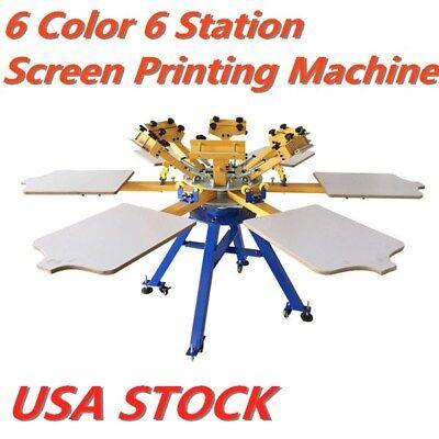 6 Color 6 Station T-shirt Silk Screen Printing Machine Press Printer