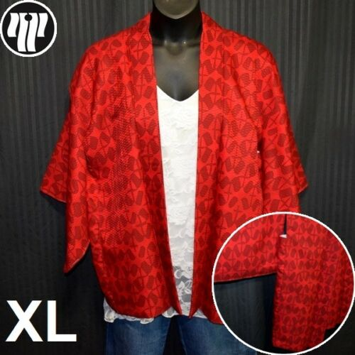Vintage Japanese Haori Jacket XL Plus Size Kimono Style Fashion - Red Abstract