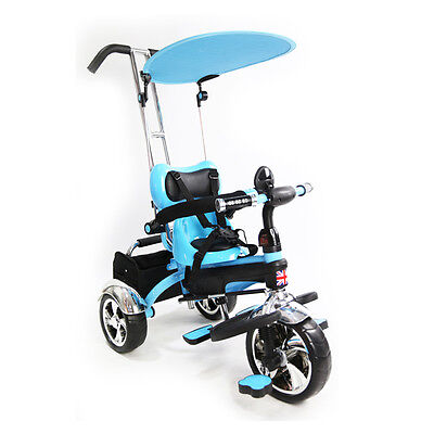 Kids Trike Tricycle 3 Wheel 4 In 1 Ride Bike Parent Handle Steel Frame Blue