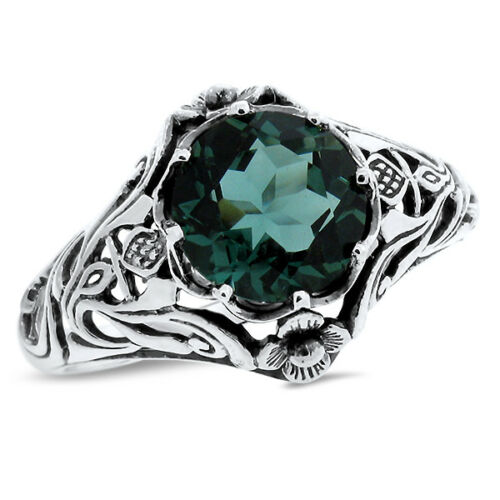 GREEN SIM EMERALD .925 STERLING Scottish Thistle NOUVEAU SILVER RING,       #757