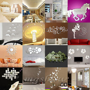 Fashion Silver Acrylic 3D Mirror Effect Wall Stickers Home