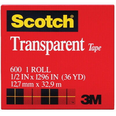Scotch 600 Transparent Tape 0.50 X 1296 Inches Glossy