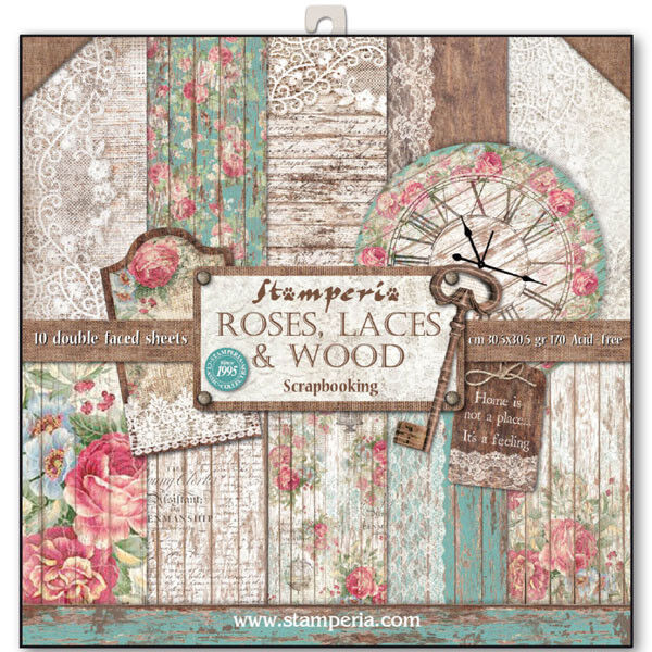 1 Set Scrapbooking Papier 30 x 30 cm Roses and Laces SBBL25 Stamperia