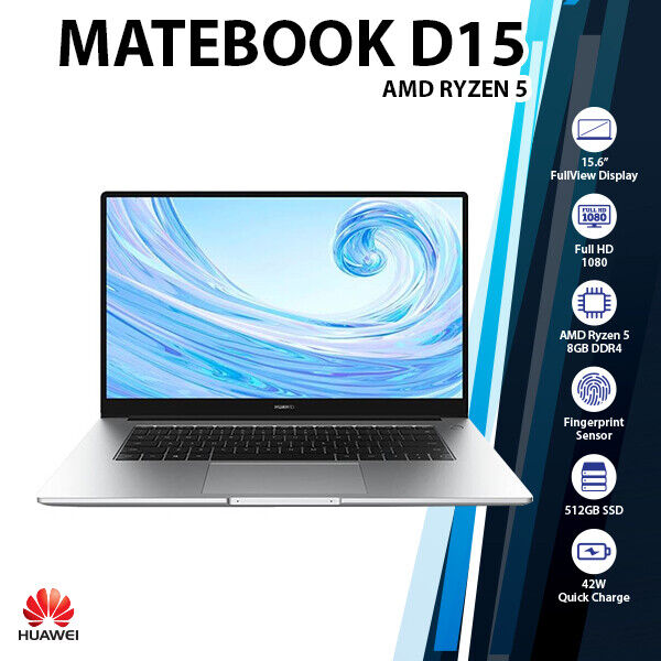 "Laptop Windows - Huawei Matebook D 15.6"" AMD Ryzen 5 3500U Radeon Vega 8 512GB SSD Windows Laptop"