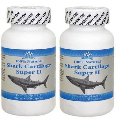 2 x Natual Shark Cartilage (Freeze Dried) 750mg 100 Caps Made In USA, FREE SHIP