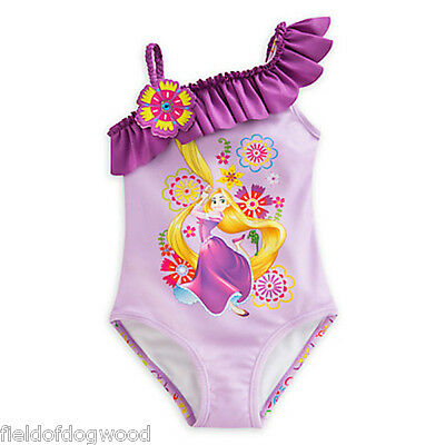 NWT Disney Store Tangled Rapunzel 1pc Princess Swimsuit Girls 4,5/6