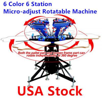 6 Color 6 Station Manual Screen Printing Press Micro-adjust Rotatable Machine