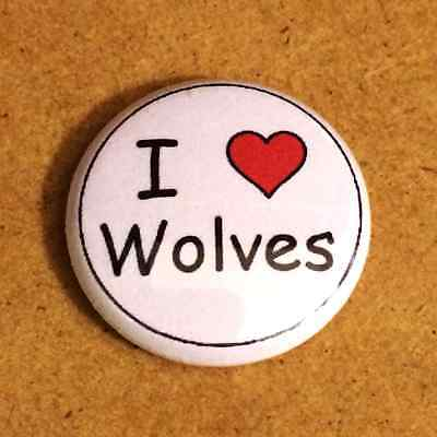 1 Inch I Heart Love Wolves Button Pin Pinback