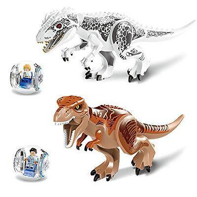 2Set Jurassic World Park Dinosaur Minifigures Tyrannosaurus Indominus Rex Z151