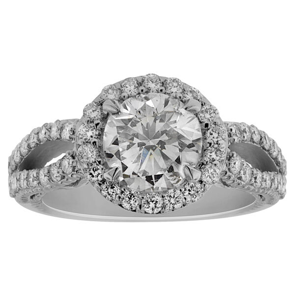 3.05ct ROUND CUT diamond engagement Ring 14k WHITE GOLD D COLOR SI1 (2.05)