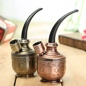 Bronze Water Smoking Pipe Shisha Hookah Tobacco Pipes Holder Cigarette Filter