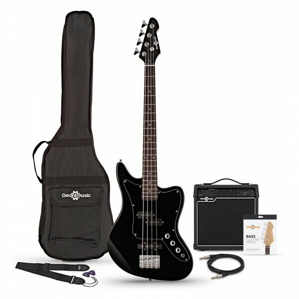 Seattle Short Scale Bass Guitar + 15W Amp Pack Black