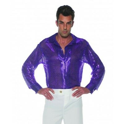 1970'S 70S 80S PURPLE SEQUIN DISCO COSTUME SHIRT DANCE SATURDAY NIGHT FEVER - 80's Night Kostüm