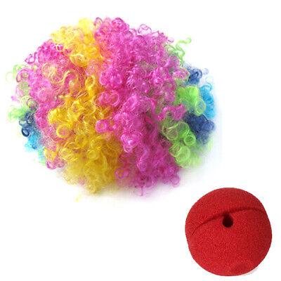 Lustige Red Foam Clown Nase und Perücke Jester Kostüm Fancy Dress Cosplay