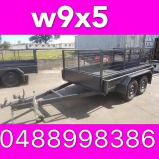9x5 TANDEM AXLE TRAILER W CRATE LOCAL MADE FULL CHKER PLATE 2