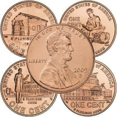 Eight Coin Set Lincoln Bicentennial 2009 Cent Pennies from Mint Rolls P & D Mint 2009 Lincoln Coin