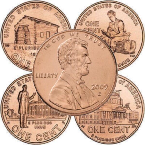 """2009  P/&D LP4/"""" 8 Coin Set /"""" LP1 Lincoln Bicentennial Cent"""