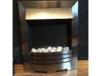 Swan electric inset fire and pine wood mantel surround