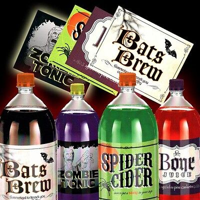 Scherz-Etiketten zu Halloween, Bats Brew, Bone Juice und Co.