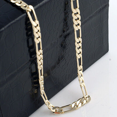 Mens 14K Yellow Gold Plated 24in Figaro Chain Necklace 5.6 MM