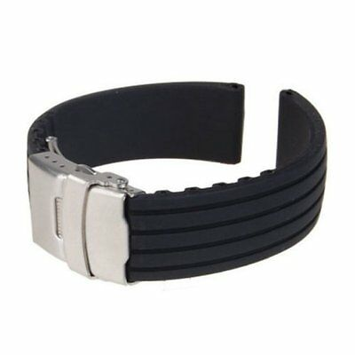 18mm 20mm 22mm 24mm Mens Silicone Watch Band Sport Diver Wat