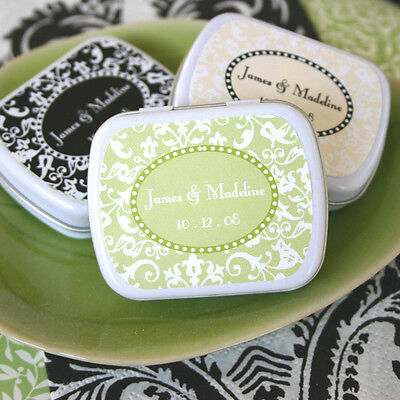 Personalized Classic Damask Floral Mint Tin Bridal Wedding Favor Box 21 -