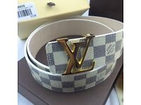 White pattern mens gold buckle leather belt versace boxed brand new unused