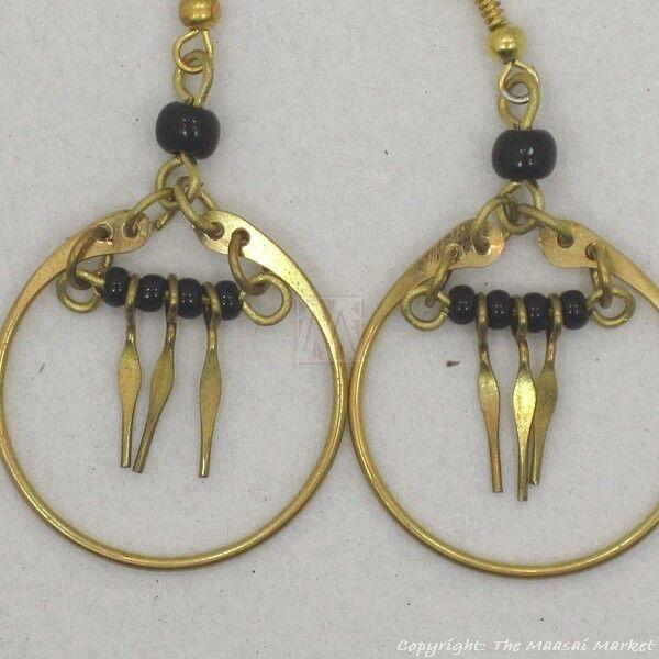 Maasai Market African Kenya Jewelry Brass Masai Beads Earrings 630-20
