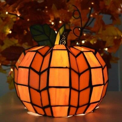 Stained Glass Pumpkin Table Lamp Halloween Thanksgiving 9