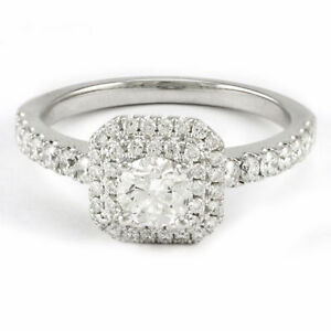 14k White Gold Double Halo Diamond Engagement Ring (0.94) #3632 Oakville / Halton Region Toronto (GTA) image 1
