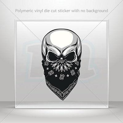 Bandana Dekorationen (Decals Decal skull with bandana Helmet Motorbike Bike Garage bike st7 2278X)