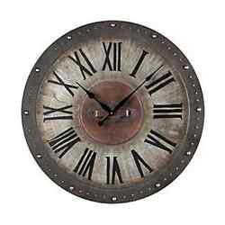 Metal Roman Numeral Indoor Outdoor Wall Clock Round Porch Clock 128-1005