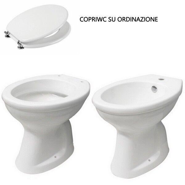 Coppia Sanitari Vaso e Bidet Ceramica wc scarico a pavimento o a parete |33