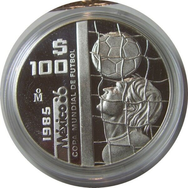 elf Mexico 100 Pesos 1985 Silver World Cup Soccer Proof