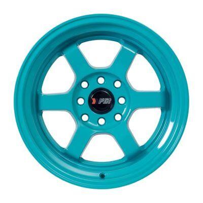 "F1R Wheels F05 Rims 15x8 4x100 4x114.3 +0 Offset 3"" Stepped Lip Teal Blue-Green"