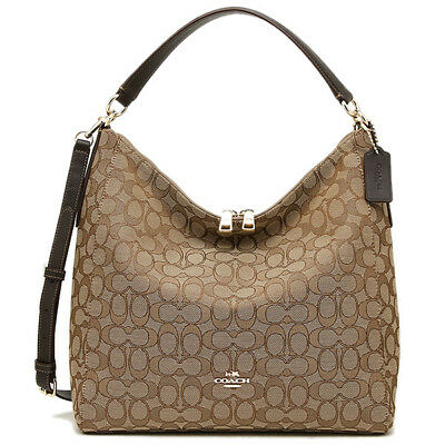 New Coach F58327 Outline Signature Celeste Hobo Crossbody Bag Brown Khaki NWT