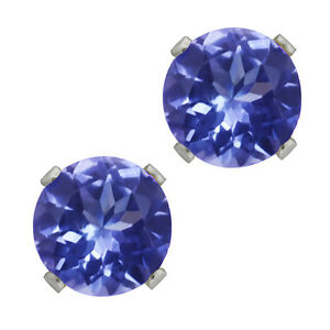1.00 Ct Round Cut Tanzanite Stud Earrings set in 14K White Gold