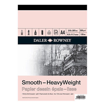 A4 Daler-Rowney Heavy Weight Cartridge Paper Pad 220gsm