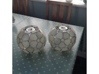 Pair pretty frosted lampshades