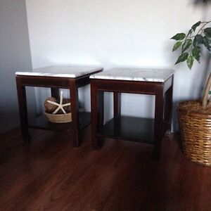 Two Matching End Tables with Marble Tops